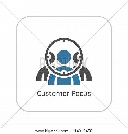 Customer Focus Icon. Flat Design.