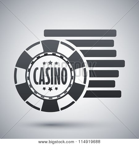 Casino Chips Icon, Stock Vector