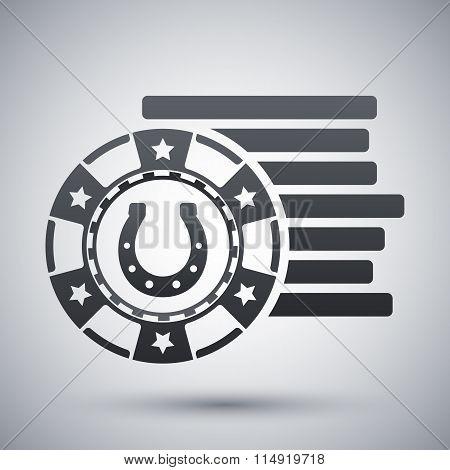Gambling Chips Icon, Vector
