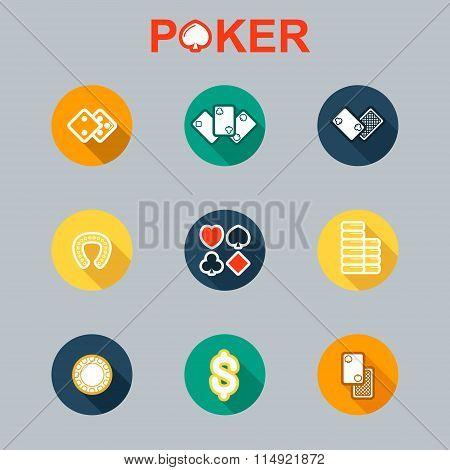 Vector set of casino icons longshadow
