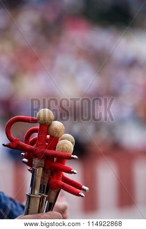 Some swords of fighting during bullfighting celebration, Spain