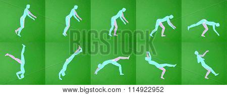 Paper Applique. Movement Men. Tumbling, Sports.