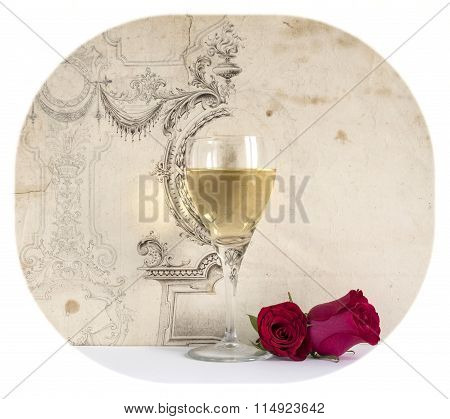 glass of white wine with rose on the decorative background