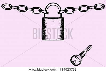 Padlock with chain and key
