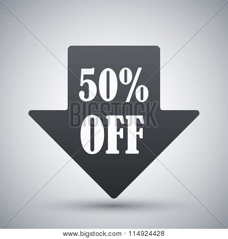 Arrow Down With 50% Sale Tag, Vector