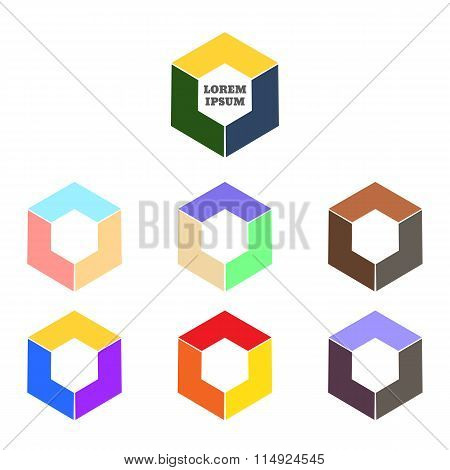 Abstract Logo Vector Template. Corner Geometric Shape And Symmetric Symbol, Square Icon, Box Logo Or