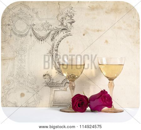 two glasses of white wine with rose on the decorative background