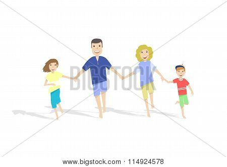 Running Family On White Background. Vector Illustration.