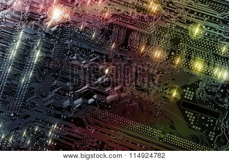 computers circuitboard, motherboard, microchips and electronics in various shades