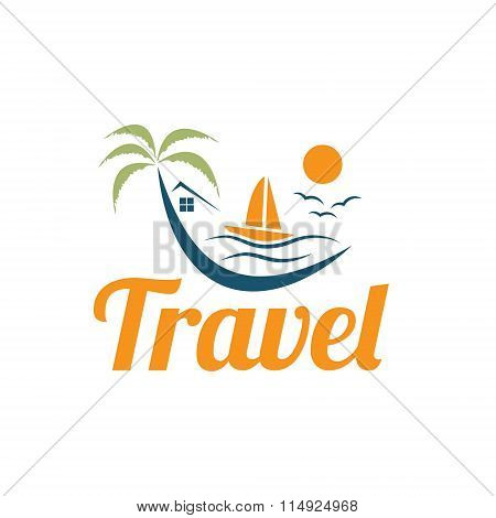 Palm Tree ,ocean And Boat Vector Design Template