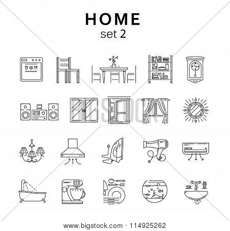 Home Related Icons Set2, Vector Illustration, Line Icons
