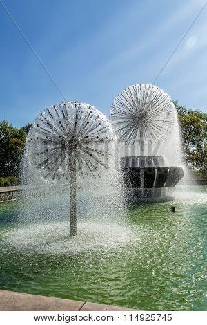 Fountains on Lenin Street. Lipetsk. Russia