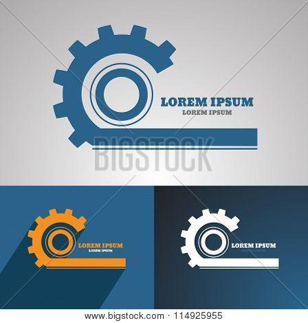 Gear Vector Logo Icon Template. Machine, Progress, Teamwork Logo. Technology And Techno Shapes. Gear