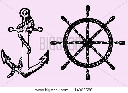 ships anchor and wheel