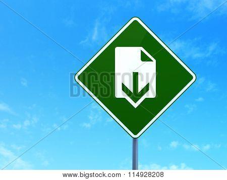 Web design concept: Download on road sign background