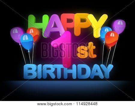 Happy 1St Birthday Title Dark