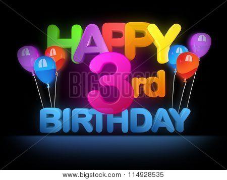 Happy 3Rd Birthday Title Dark