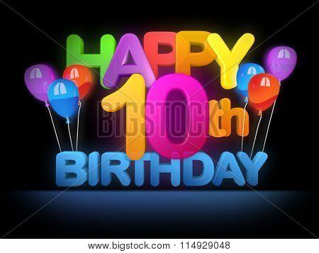 Happy 10Th Birthday Title Dark