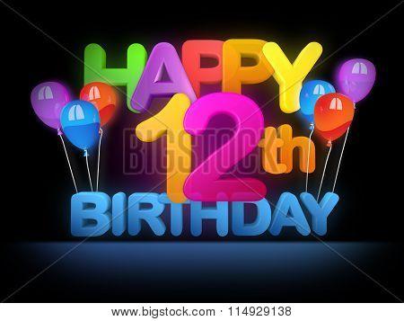 Happy 12Th Birthday Title Dark