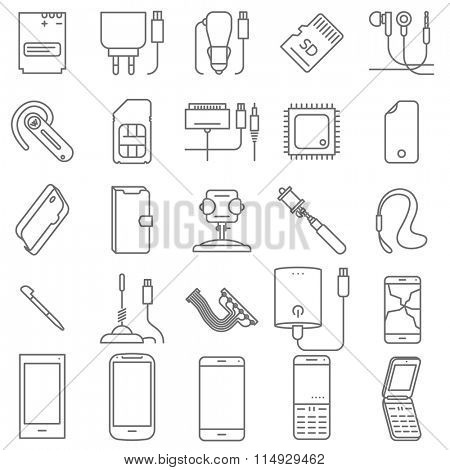 Thin line mobile shop and service vector icon set.