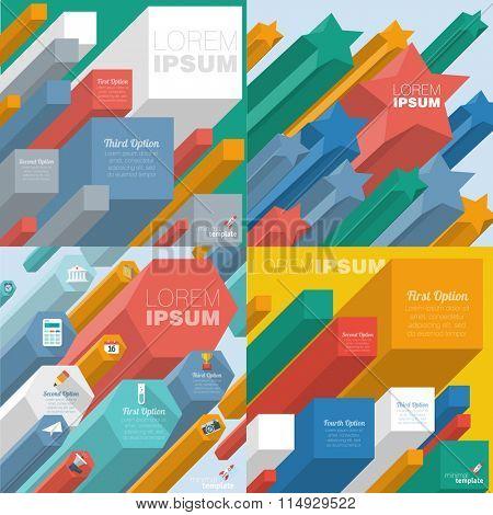 Color boxes. Infographic flat design minimalist chart vector design.