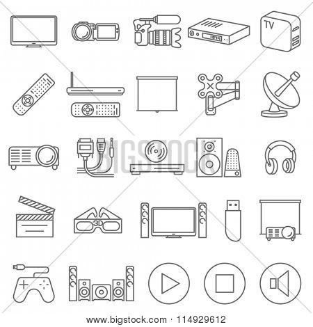 Thin TV  shop and entertainment vector icon set.
