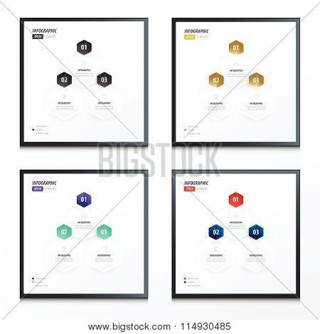 Hexagon Infographic 2 Color Set