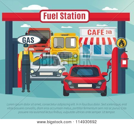 Gas Station Background Illustration