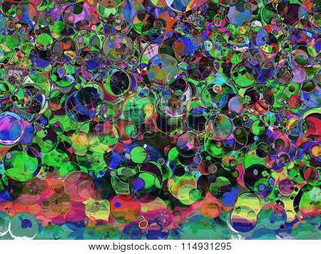 Multicolored Holiday Abstract Bubbles Background.