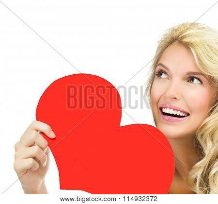 beauty portrait of attractive young caucasian smiling woman blond isolated on white studio shot  toothy smile face long hair blond head and shoulders red heart valentine's love