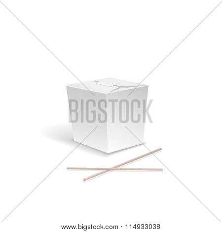 White Food box, Container for fast Chinese food, take out noodle box with chopsticks. asian lunch