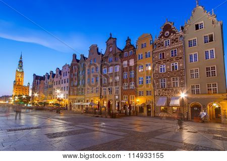 GDANSK, POLAND - 25 JULY 2012: Architecture of the Long Lane in Gdansk at night. Baroque architecture of the Long Lane is one of the most notable tourist attractions of the city.