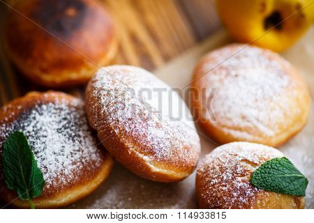 fried donuts with quince inside