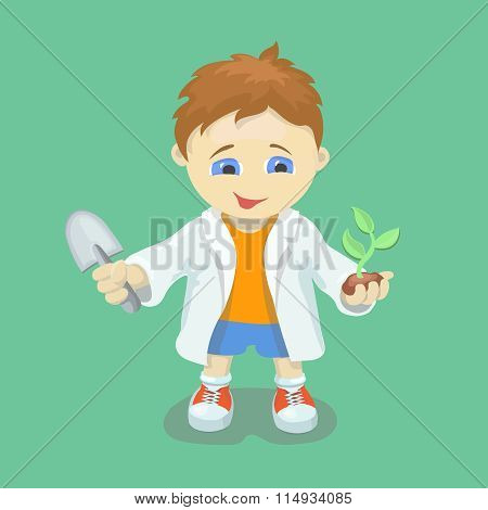 Boy doing biological experiments. Young scientist.