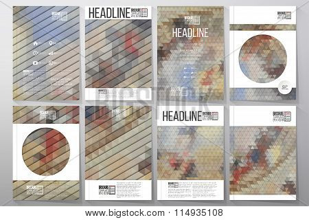 Business templates for brochure, flyer or booklet. Catholic church inside. Collection of abstract mu