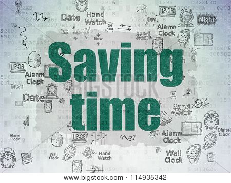 Timeline concept: Saving Time on Digital Paper background