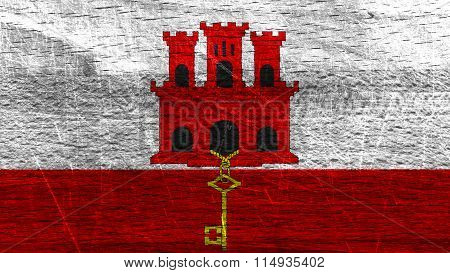 Flag of Gibraltar painted on wood