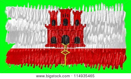 Flag of Gibraltar painted with brush on solid background, paint texture