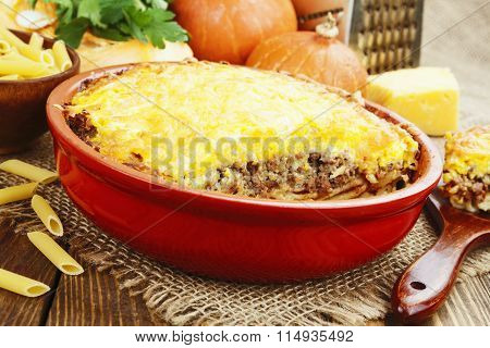 Casserole With Pasta, Minced Meat And Pumpkin