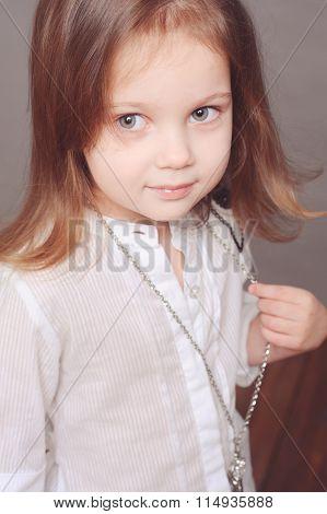 Smiling child girl closeup