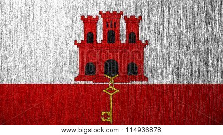 Flag of Gibraltar painted on metal