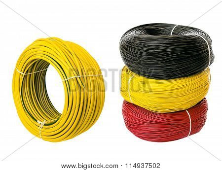 set colored electric cable, isolated