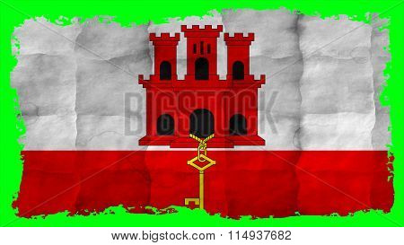 Flag of Gibraltar painted on paper
