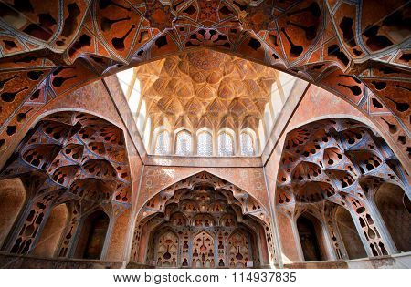 Fantastic Ceiling And Patterns In Music Instruments Shapes In Palace Ali Qapu In Iran