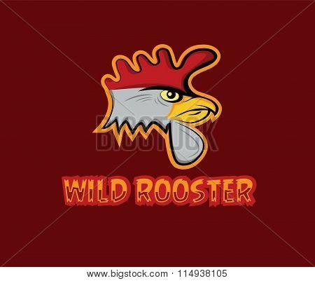 Cartoon Head Of Wild Rooster