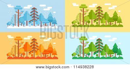 Flat Style Forest Scenery, Four Stylized Seasons
