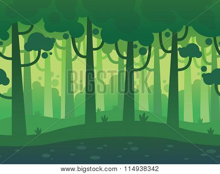 Game Seamless Horizontal Forest Background