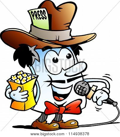 Vector Cartoon Illustration Of A Happy Editor Paper Reporter Mascot