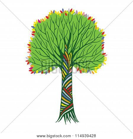 Stylized Hand Draw Vintage Tree With Rainbow Leaves On White Background. Abstract Vector