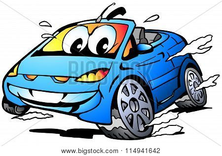 Vector Cartoon Illustration Of A Blue Sports Car Mascot Racing In Full Speed